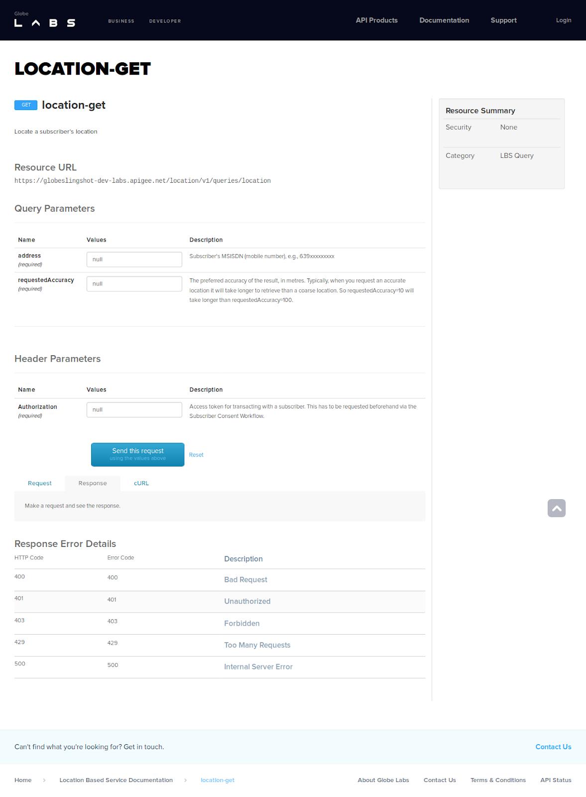 GlobeLabs SmartDocs for an API