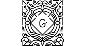 a black and white design with G written in centre