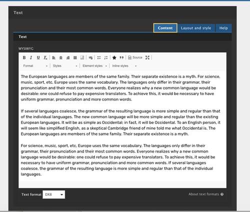 dummy text written in white background to show WYSIWYG capability of Acquia site studio
