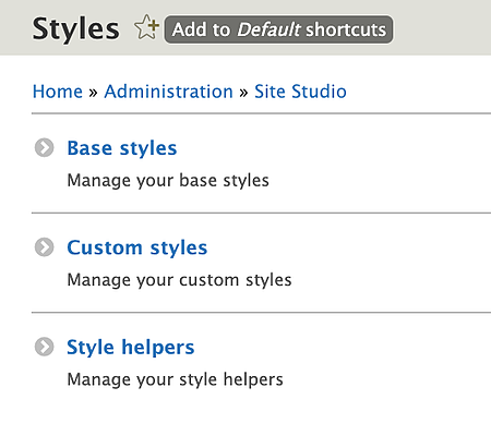 site studio admin interface dropdown with three options
