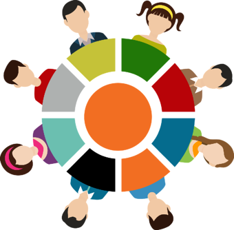 8 people sitting on colorful roundtable