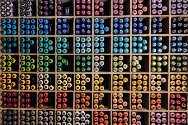 Colorful balls in various shelves