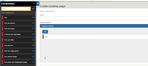 admin interface drupal with title and layout field
