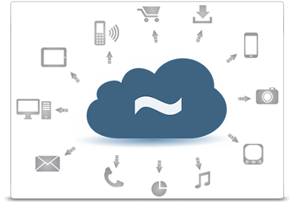 Cloud surrounded by various digital elements