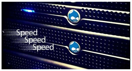Drupal logo and Speed word written
