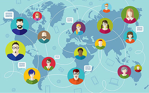 people connected via various devices across the globe
