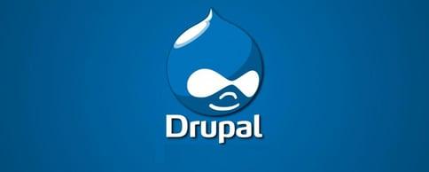 Drupal logo in blue background