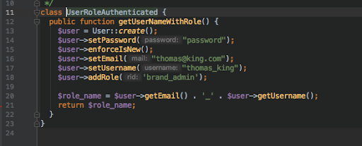 code in black background