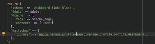 Commands shown in for caching tags