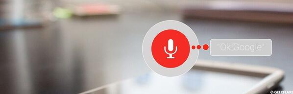 Google Assistant in use with a microphone icon