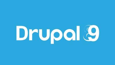 Drupal 9 written in blue background