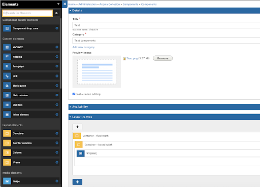 acquia site studio admin interface with four fields and  and a panel on right