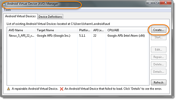 Create button to create a new AVD