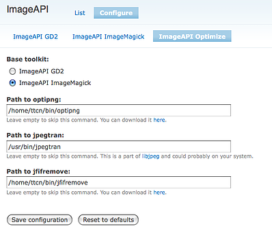Image optimization module configuration