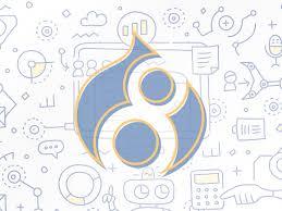 8 written inside Drupal logo