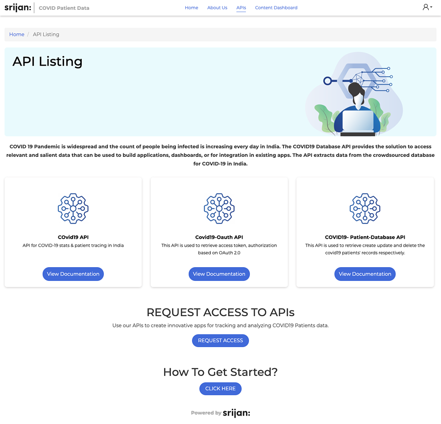 Various elements and features for API listing