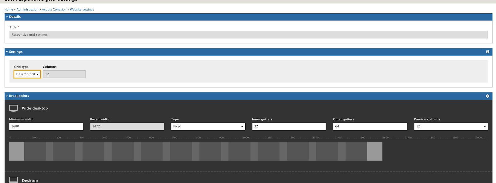 acquia cohesion admin interface with white and black background and multiple fields
