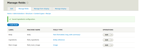 Box with manage fields page